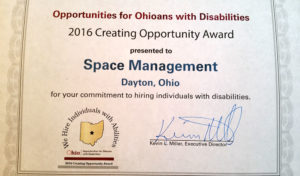 Creating Opportunity Award certificate from Opportunities for Ohioans with Disabilities to Space Management